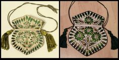 Reticule with beetle wing embroidery, ca. 1860. On the right a modern reproduction of this bag, made by Angela Mombers