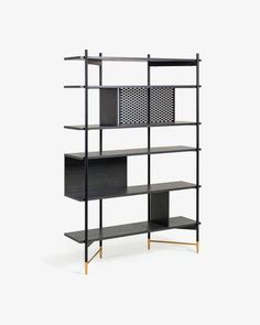 Shelving unit Milian 120 x 177 cm. Shelving unit 120 x 177 cm with a structure of ash wood with ash veneer. Rear with metal grid detail. Legs of metal with gold painted details. Metal Shelving Units, Timber Shelves, Wall Shelves, Open Shelves, Storage Units, Corner Shelves, Floating Shelves, Shelf Dividers, Wood