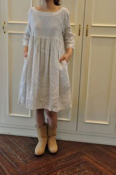 simple linen dresses: - the neckline, empire waist, long sleeves, & length. I am addicted to Linen...