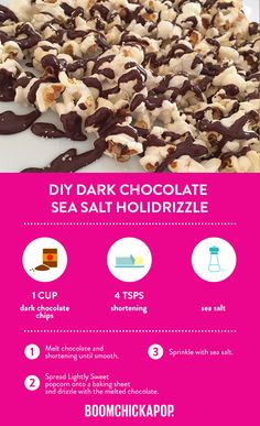 We've got you and your sweet tooth covered this February. Here's a DIY holidrizzle recipe using our Lightly Sweet popcorn to help you celebrate national chocolate lovers month. Recipes Appetizers And Snacks, Popcorn Recipes, Sweets Recipes, Yummy Snacks, Just Desserts, Delicious Desserts, Cooking Recipes, Healthy Popcorn, Healthy Food