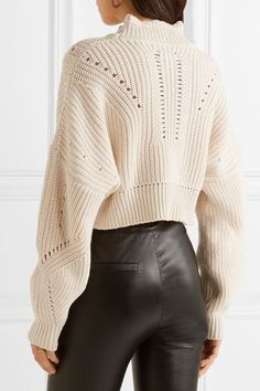 Isabel Marant - Gane Cropped Pointelle-trimmed Cotton And Wool-blend Sweater - Ecru - FR