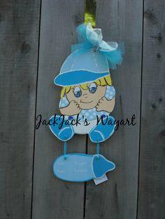 It's A Boy announcement Newborn door hanger by JackJacksWayart