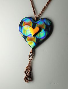 Beautiful Heart Necklace Fused Dichroic Glass One-of-a Kind.