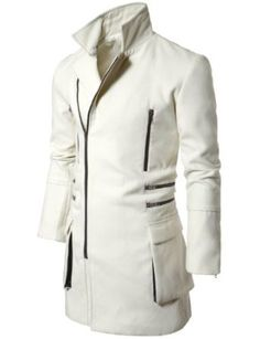 Doublju Mens Slim Coat with Zipper Point