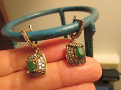 Vintage Deco 2.40ctw Emerald & White Sapphire Rose Gold/Sterling Silver Dangle Earrings 10.5 G, Latch-backs 925 Posts by TamisVintageShop on Etsy