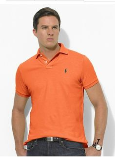 Ralph Lauren Men\u0026#39;s Classic-Fit Mesh Short Sleeve Polo Shirt Bright Signal Orange http:
