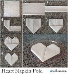 How to Fold a Napkin into a Heart. Ideal for dressing up wedding place settings, . How to Fold a Napkin into a Heart. Ideal for dressing up wedding place settings, … How to fold a Fancy Napkin Folding, How To Fold Napkins, Wedding Napkin Folding, Folding Paper Napkins, Origami Wedding, Wedding Place Settings, Wedding Napkins, Wedding Table, Wedding Places