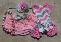 Pink Gray and White Chevron Legwarmers Bloomers Headband and Necklace Set, baby photo prop,smash cake set, birthday, baby girls sets
