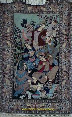 A Silk Persian Rug Depicting Poetic Celebration of Life - From a Private collection in Jounieh Lebanon
