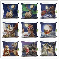 Cartoon Colorful Style Santa Claus Deer sled Print  Cushion Decor Cojines Seat Throw Pillow Printed Cotton Linen Square #Affiliate