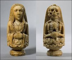 15th century Memento Mori double-faced carved figure