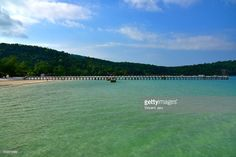 Seascape with pontoon and beach, Koh Rong Samloem, Cambodia, Southeast Asia. #getty #gettyimages #purchase #moment #rf #photo #photograph #photography
