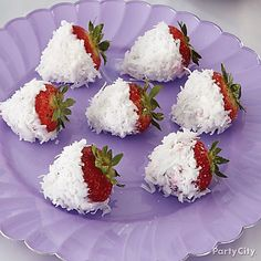 Healthy, yummy and snow-cute! Create Frozen Coconut Yogurt strawberries to add to your Frozen treats table!