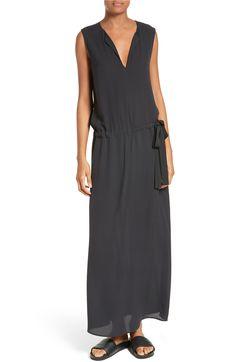 Main Image - Vince Split Neck Belted Maxi Dress