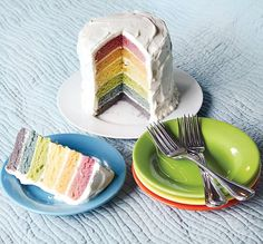 This beautiful Rainbow Cake is made with all-natural dyes from fruits and veggies and still tastes great! Full recipe and DIY Tutorial.
