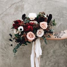 Gorgeous Bouquet of Red, Pink, White, and Dark Foliage