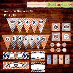25% OFF - Auburn University War Eagle Iron Bowl Tailgate Party Kit - INSTANT DOWNLOAD on Etsy, $5.25