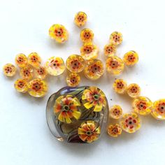 25 yellow-orange 3D flower murrini chips set / by PetrovnaLampwork