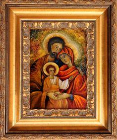 Święta Rodzina techn.malowane na szkle Danuta Rożnowska-Borys