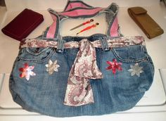 Jean Purse/handbag Jean/Pink handles recycled by LaurieEmporium