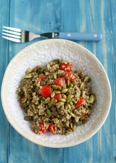 A delicious and healthy quinoa and lentil salad with crunchy pepitas. #glutenfree #vegan #cleaneating