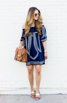 love this navy off the shoulder dress!