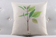 Rustic Green Plant Herbs - Basil Throw Pillow Cover