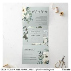 Addressing Wedding Invitations, Spring Wedding Invitations, Diy Invitations, Wedding Invitation Cards, Letter Folding, Ivory White, Floral Watercolor, As You Like, Tri Fold