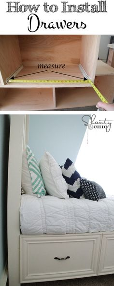 Learn how to install storage drawers under a bed! FREE plans on shanty-2-chic.com