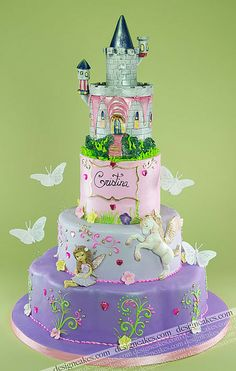 Fairy cake. Fairy, Unicorn, Princess Castle, and Butterflies all i none! this is the perfect cake for ZZ's 3rd party! too bad it's a bit more intense than I have the abilities to do...