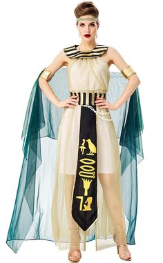 Halloween Cosplay Ancient Egyptian Pharaoh Queen Cleopatra Goddess Costume Size: M Bust 84cm,Waist 78cm,Height 158-168cm L Bust 90cm,Waist 84cm,Height 168-175cm XL Bust 90cm,Waist 90cm,Height 170-178cm Material: Polyester,Cotton,Yarn Wash Gently On The Opposite Side, Do Not Wash With Hot Water, Hang To Dry Wash Clothes By Color Separation To Avoid Dyeing This Costume Includes :Skirt, Scarf, Headwear, Bracelet Cloak, Belt, Waist Chain