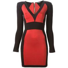 Balmain v-neck dress Vitkac (€2.365) ❤ liked on Polyvore featuring dresses, vneck dress, balmain dress, red dress, red v neck dress and v neckline dress