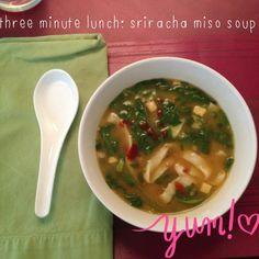 Miso Sriracha Soup = veggie broth + miso packet + spinach + shirataki tofu noodles + sriracha