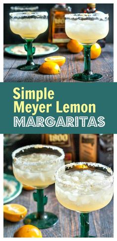These simple Meyer lemon margaritas are a refreshing change to your usual cocktail. Meyer lemons add a subtle but delicious flavor you are sure to love. Easy Drink Recipes, Best Cocktail Recipes, Sangria Recipes, Punch Recipes, Yummy Drinks, Healthy Drinks, Fun Drinks, Lemon Drink, Kitchen