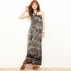 $10.09 Bohemian Slimming Leopard Pattern Keyhole Neckline Imitated Silk Maxi Dress For Women