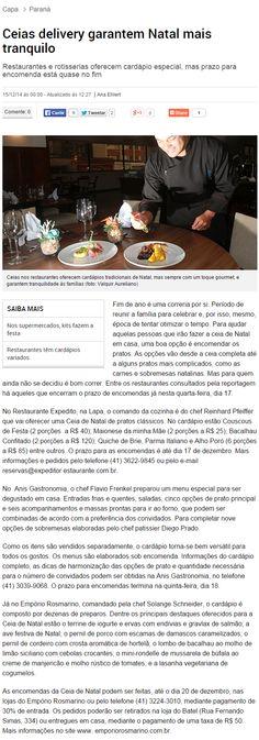 Bem Paraná Online - 15/12/2014 Ceias delivery garantem Natal mais tranquilo
