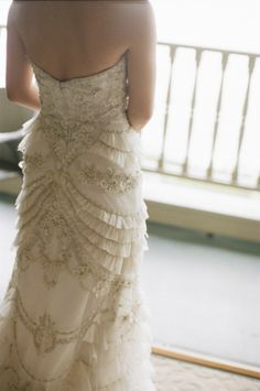 Ruffles and Beading on Bridal Gown