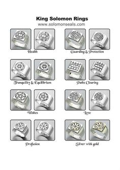 King Solomon Seals Rings 4 King Solomon Seals , Alchemy, Witchcraft, Magick, wicca. occult, pagan interest. www.solomonseals.com