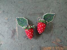 Strawberries and Leaves Earrings - Gay Huntley
