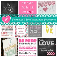 10 Fabulous & Free Valentine's Printables #subwayart
