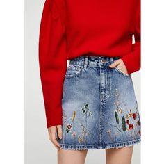 Embroidered Denim Skirt (480 EGP) ❤ liked on Polyvore featuring skirts, floral denim skirt, mango skirts, floral skirt, denim skirt and knee length denim skirt