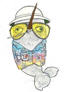 Hunter S. Thompson Narwhal by HayleyCassatt on Etsy, $18.00