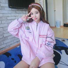 "Pink/white/black embroidery baseball jacket SE9129   Coupon code ""cutekawaii"" for 10% off"