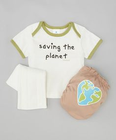 Take a look at this Green 'Saving the Planet' Lap Neck Tee & Diaper Set by CoCaLo on #zulily today!