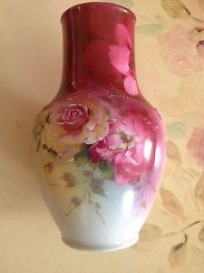 Vase Royal Bayreuth Hand Painted beautiful Roses Blue Mark
