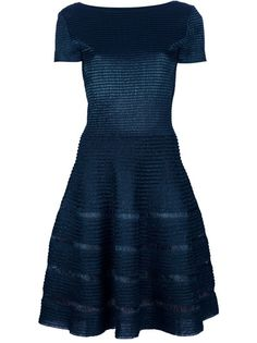 Green silk mix dress Alaia featuring bateau neck, cut-out V to the back, short sleeves, concealed zip fastening to the back, an a-line skirt and a stripe pattern allover.