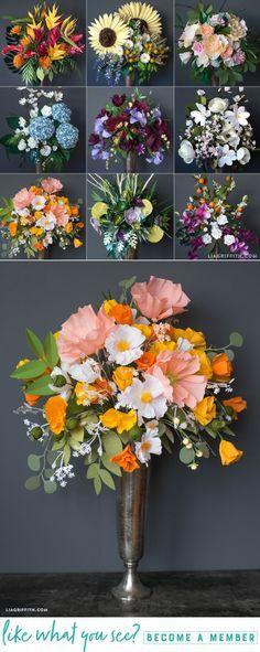 DIY Giant Paper Flower Bouquets www.LiaGriffith.com #PaperFlowers #PaperFlower #PaperPoppy #PaperCaliforniaPoppy #PaperIcelandicPoppy #PaperBouquet #DIYWedding #WeddingDIY #CricutMaker #CricutMade
