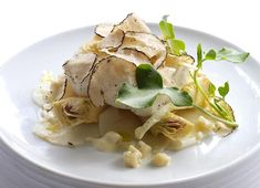Poached turbot with artichoke and Sauternes velouté