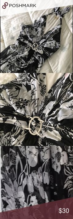 "Stunning Party Dress 🎉 Halter black/white dress. Beautiful buckle adds dimension around the waist. Lining has additional floral design. Length from waist to hem is about 41"" -- wore to black tie event and an outside Wedding. Dry cleaned. White House Black Market Dresses"