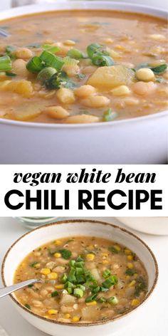 Vegetarian Bean Recipes, Vegan Bean Soup, Vegan Bean Chili, Healthy Chili, No Bean Chili, Vegan Dinner Recipes, Vegan Dinners, Vegetarian White Chili Recipe, Easy Vegan Chili